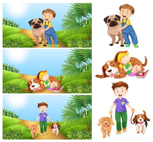 Jongen en meisje met huisdierenhonden