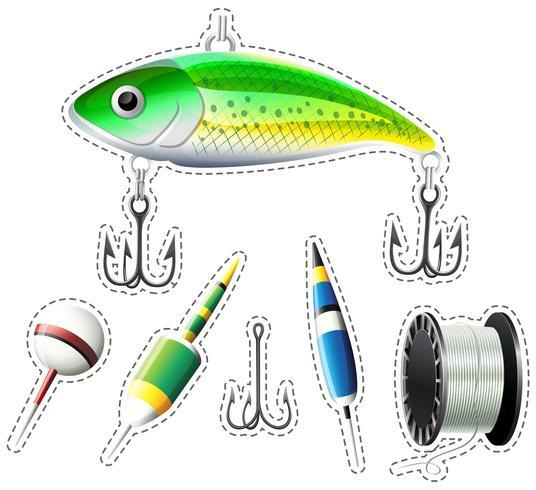 Conjunto de pegatinas de equipo de pesca. vector