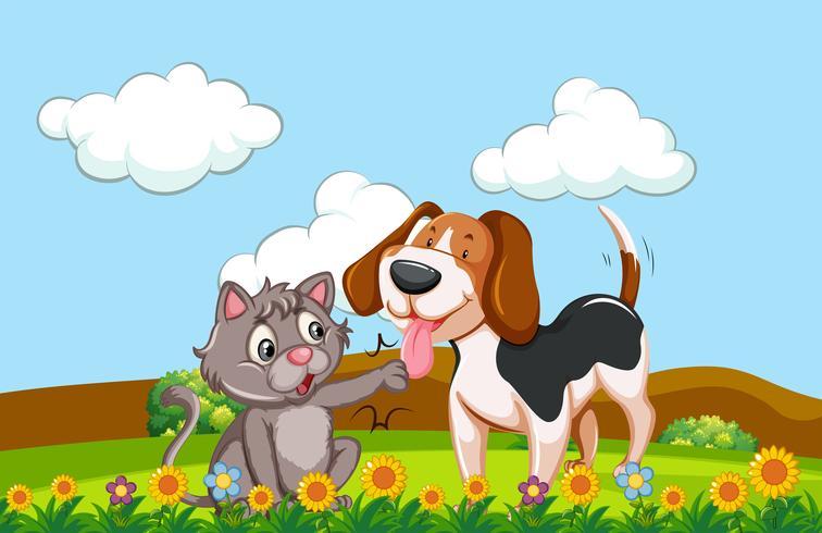 Un perro y un gato en un jardín. vector