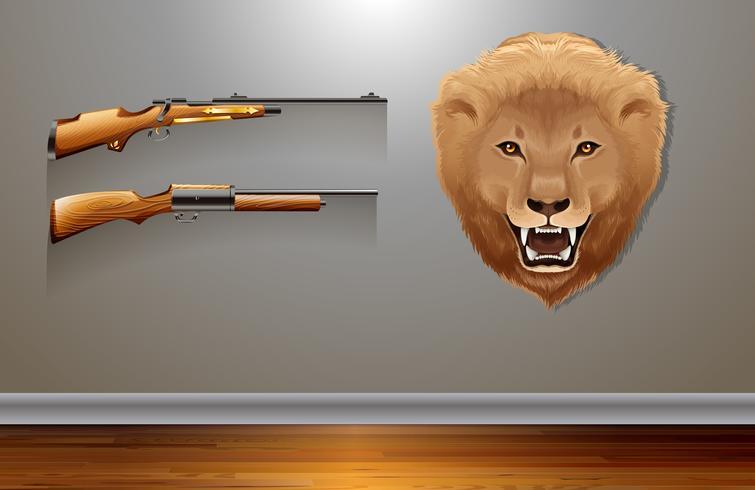 Hangende leeuwenkop op de muur