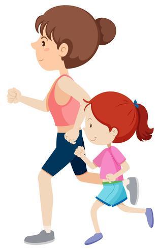 Madre e hija corriendo vector