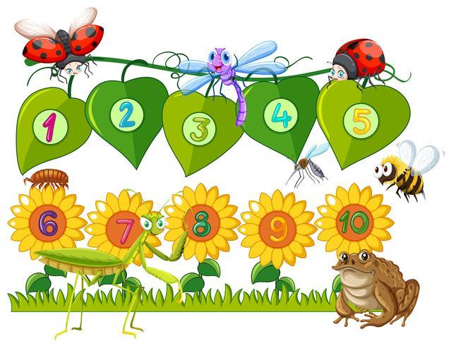 Número uno a diez en hojas y flores. vector