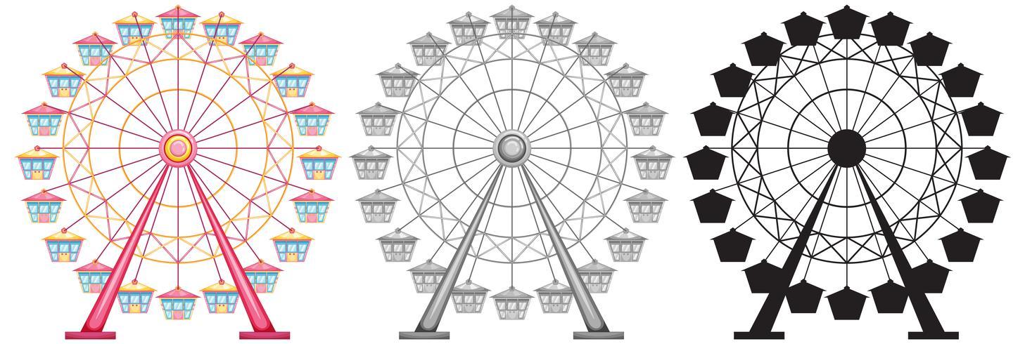 Set med pariserhjul på vit backgrond vektor