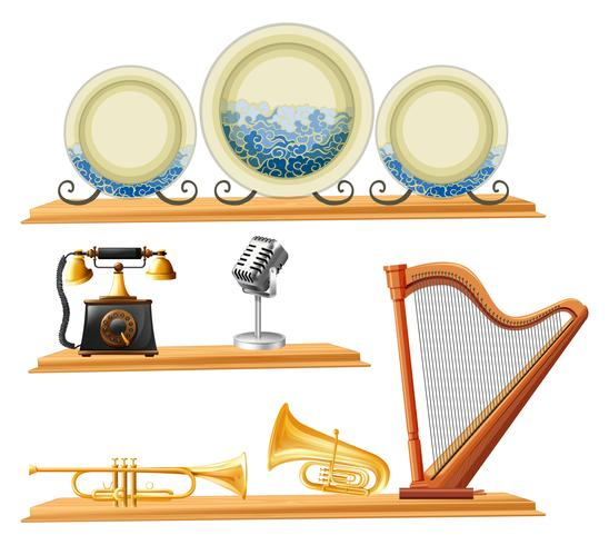 Vintage items and musical instruments on wooden shelves