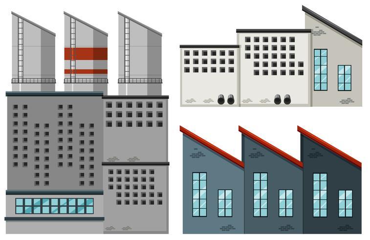 Edifícios de fábrica em projetos diferentes vetor