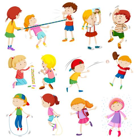 Crianças fazendo atividades diferentes vetor