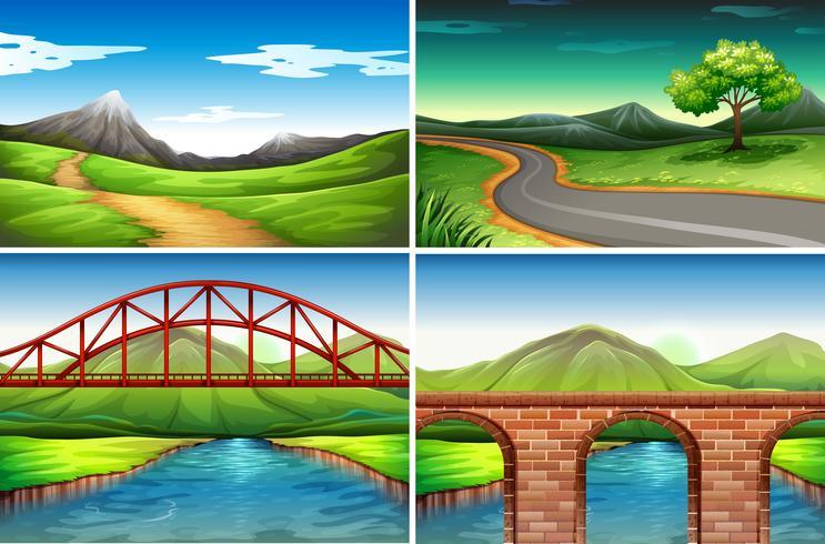 Cuatro escenas diferentes de campo. vector