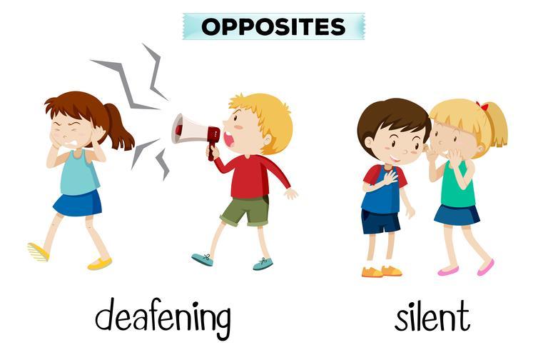 Opostos ensurdecedores e silenciosos vetor