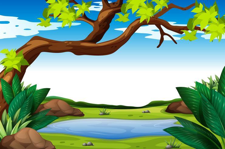 Cena da natureza com árvore e lagoa