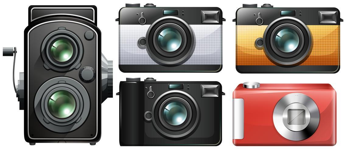 Ensemble de caméras vintage vecteur