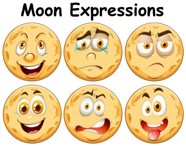 Seis expresiones faciales diferentes de la luna vector