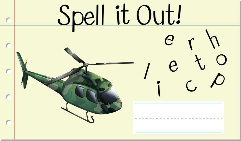 Deletrearlo en helicóptero vector