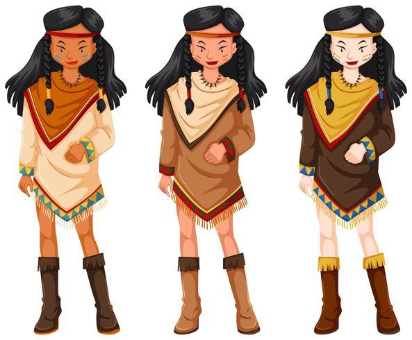 Indios nativos americanos mujeres en trajes tradicionales. vector
