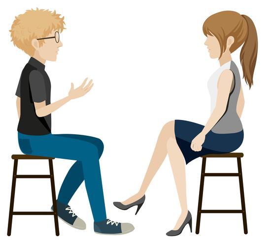 Een meisje en een jongen die zonder gezichten praten