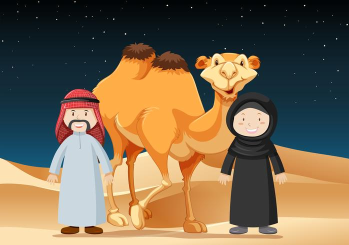 La gente viaja en el desierto con camello vector