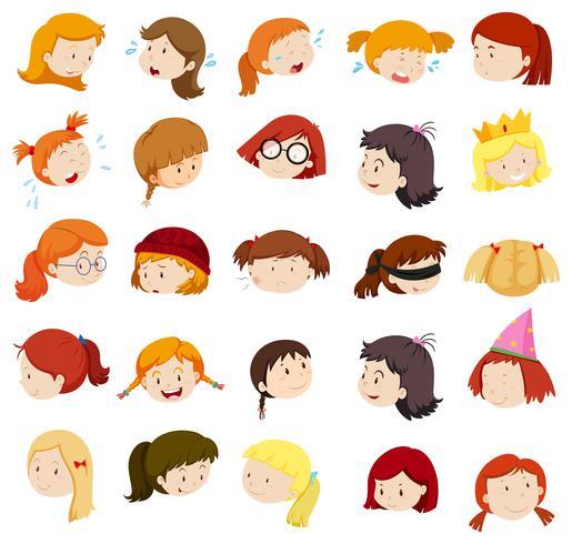 Mädchenkopf mit verschiedenen Ausdrücken