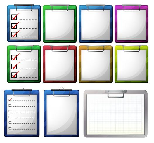 Blank paper on clipboards