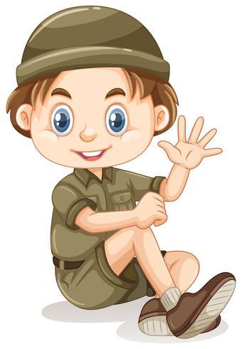 Un joven boy scout vector