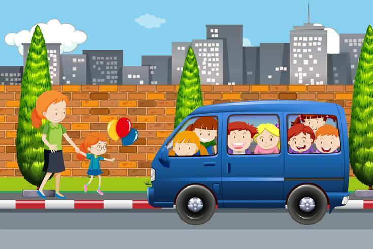 Crianças, em, um, cena bus vetor