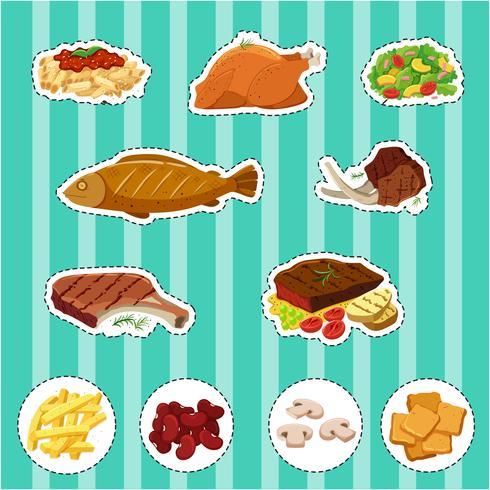 Klistermärke med olika typer av mat