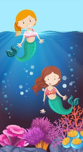 Feliz, sereia, em, a, oceânicos vetor