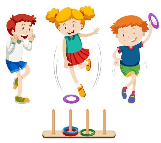 Crianças jogando anel lance vetor