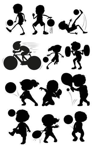 Set di carattere atleta silhouette