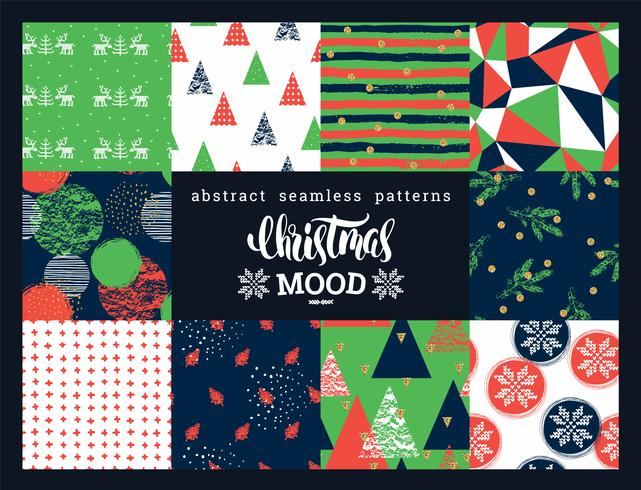Christmas and New Year Set. Abstract geometric and ornamental seamless patterns.