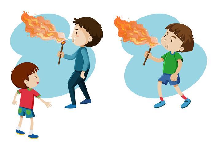 Rapazes, soprando fogo na vara