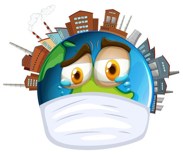 Tema ambiental con mundo y contaminación. vector