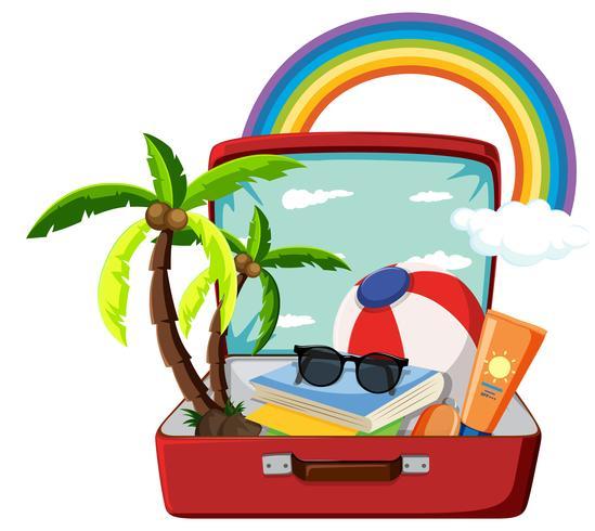 Objeto de verão na mala
