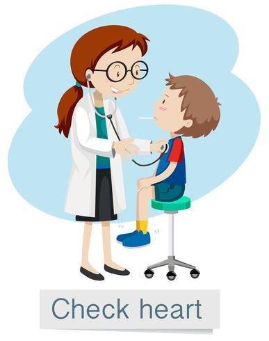 Un niño que tiene un chequeo del corazón vector