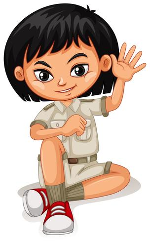 An Asian Girl in Safari Suit - Download Free Vector Art, Stock Graphics & Images