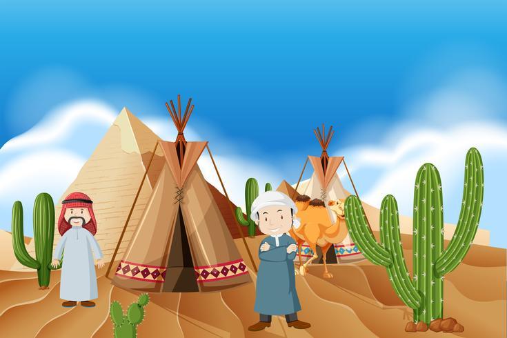 Gente en el campamento del desierto. vector