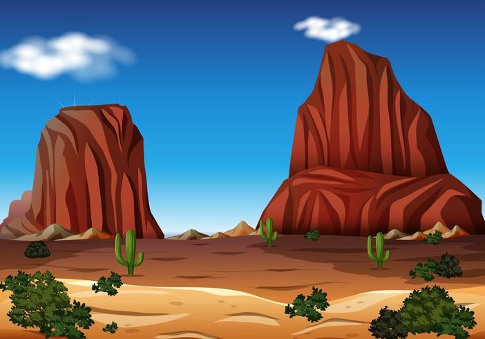 Rock Mountain en el desierto vector