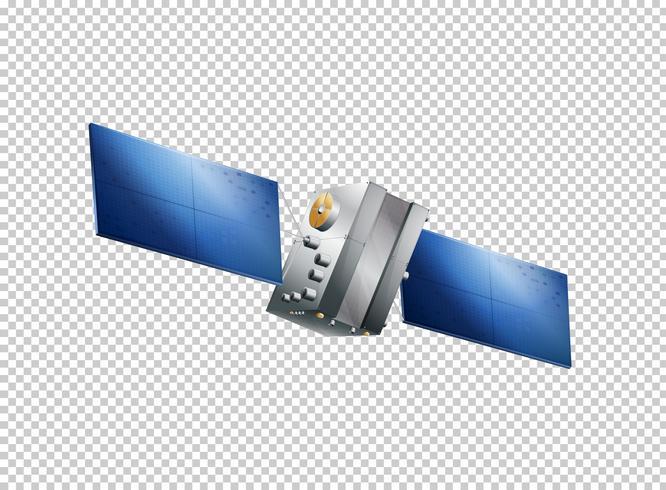 Vuelo satelital sobre fondo transparente vector