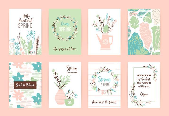Set van artistieke creatieve lente kaarten.