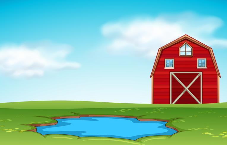 Red barn and pond farm scene