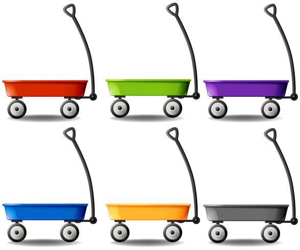 Vagões em cores diferentes vetor