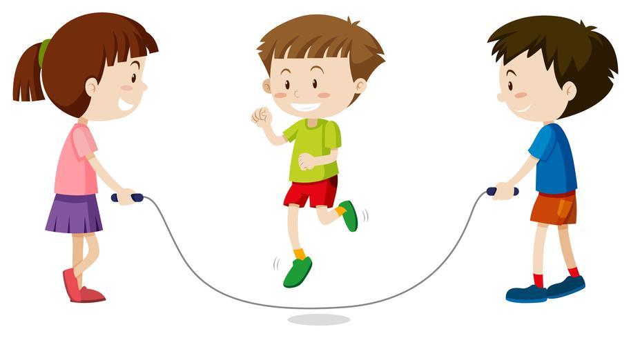 Tres niños saltando la cuerda