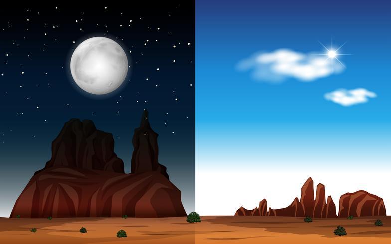 Desierto dia y noche escena vector