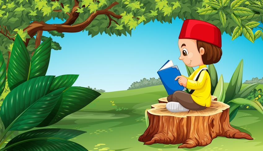 Livro de leitura do menino muçulmano no parque vetor