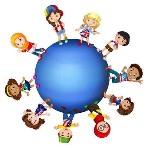 Niños de todo el mundo vector
