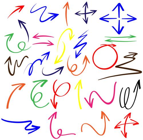 Doodle pijlen in verschillende kleuren
