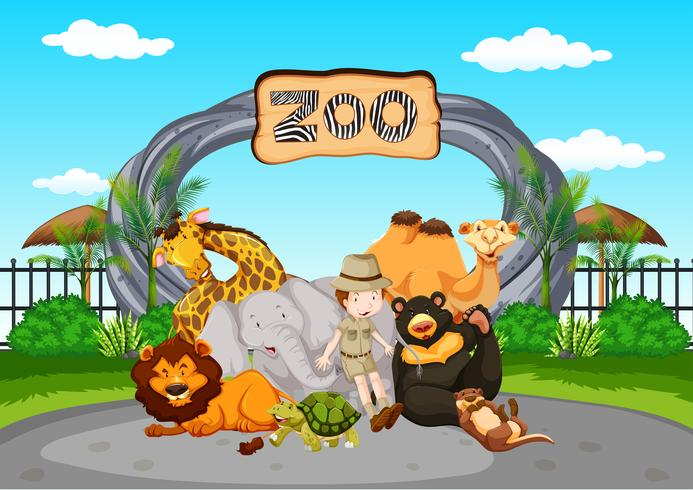 Scene at the zoo with zookeeper and animals