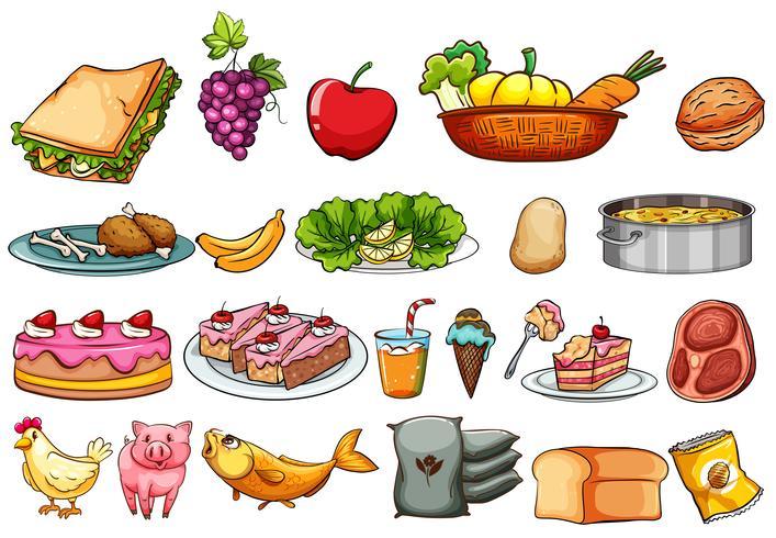 Conjunto de alimentos e ingredientes. vector