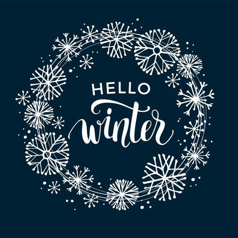 Conception de lettrage hiver sur fond de neige avec cadre flocon de neige dessiné à la main. vecteur