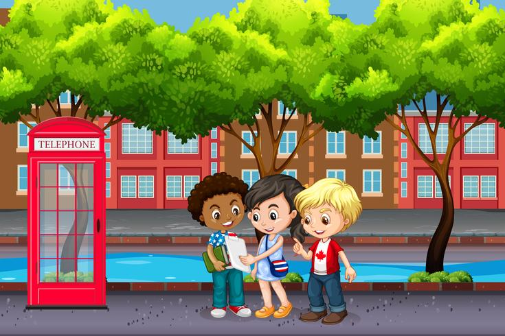 Internationale kinderen in de stad