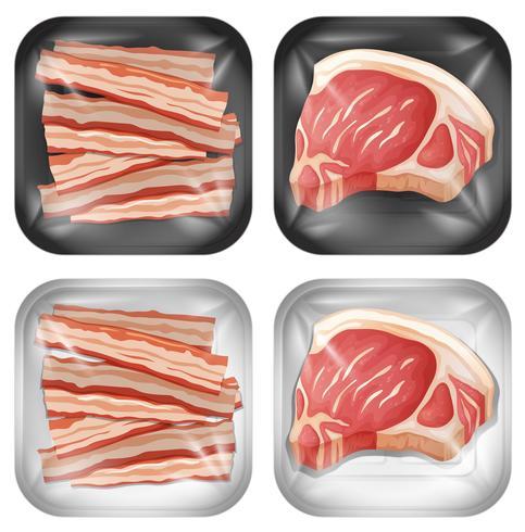 En uppsättning av bacon och kött