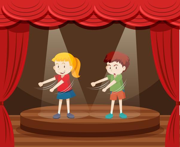 Deux enfants dansent sur scène vecteur
